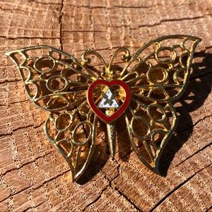 Loyal Order of the Moose Gold Butterfly Brooch Pin